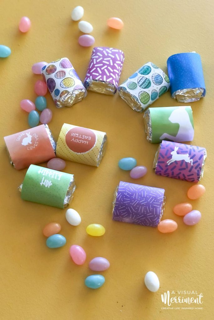 close up of printable Easter chocolate wrappers