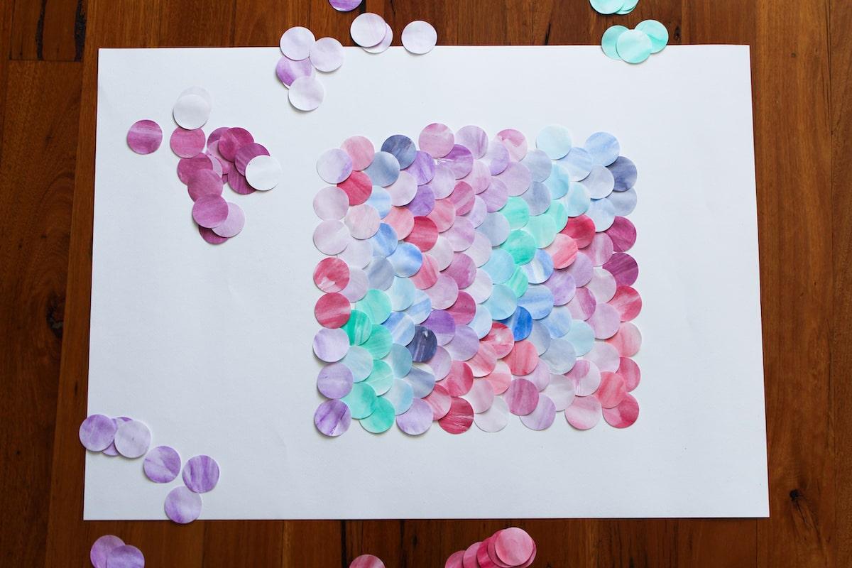 Finished layout of scalloped watercolour pattern