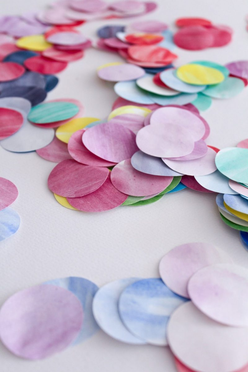 group of colourful watercolour paper circles