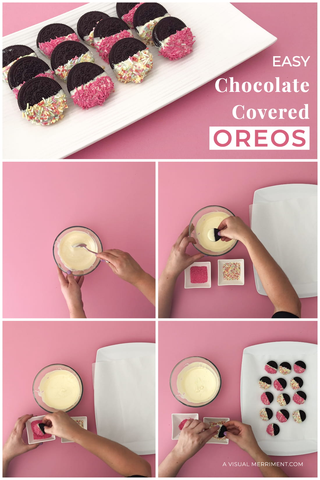 Step by step pictures of making chocolate covered Oreos