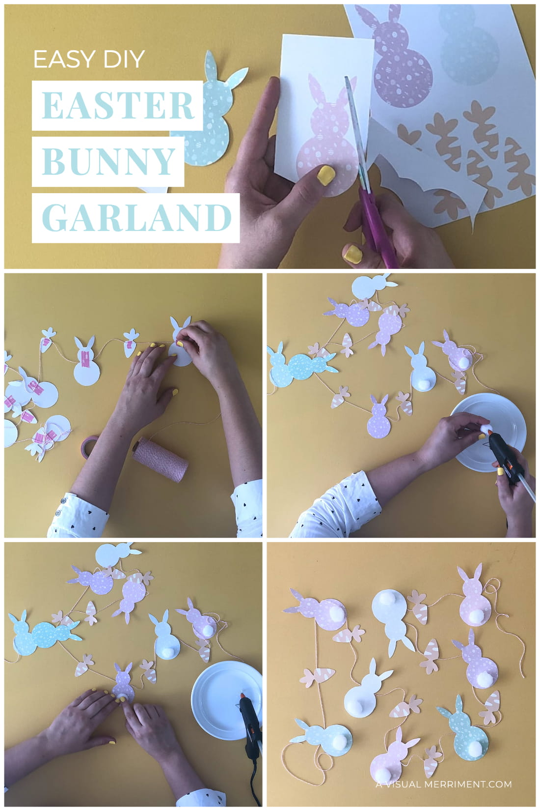 Multiple images of making Easter bunny garland