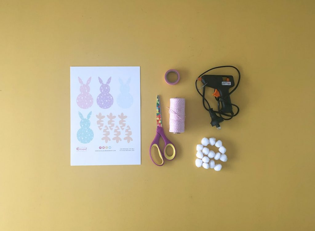Easter bunny garland supplies