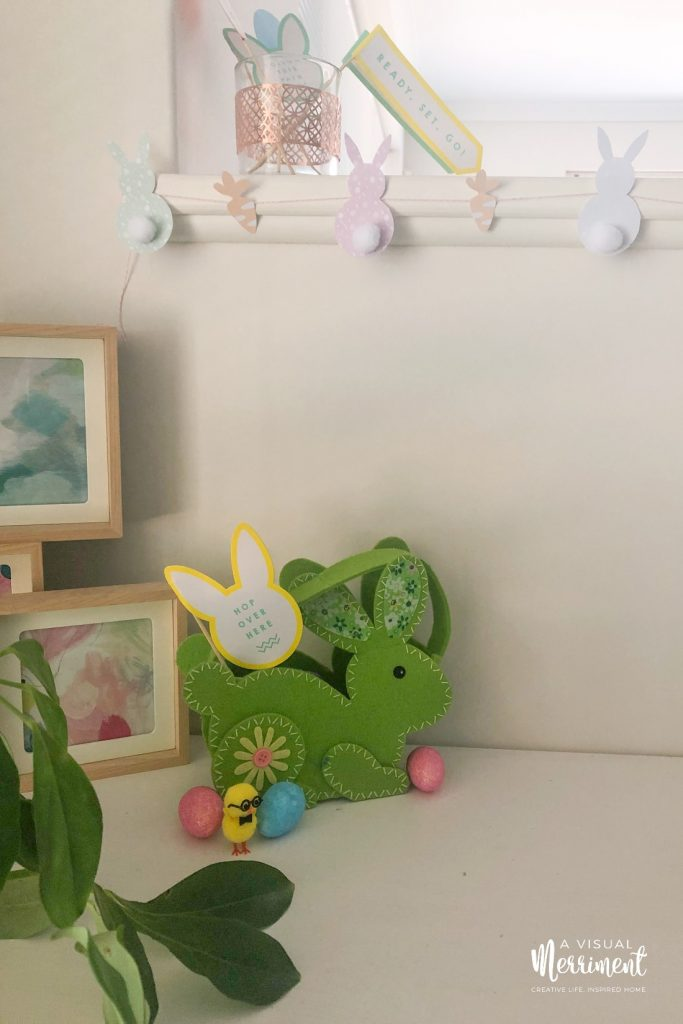 Easter basket and decor display
