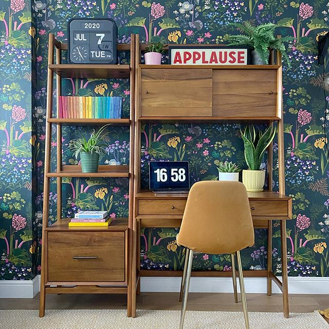 botanical wallpaper mid century mod workspace