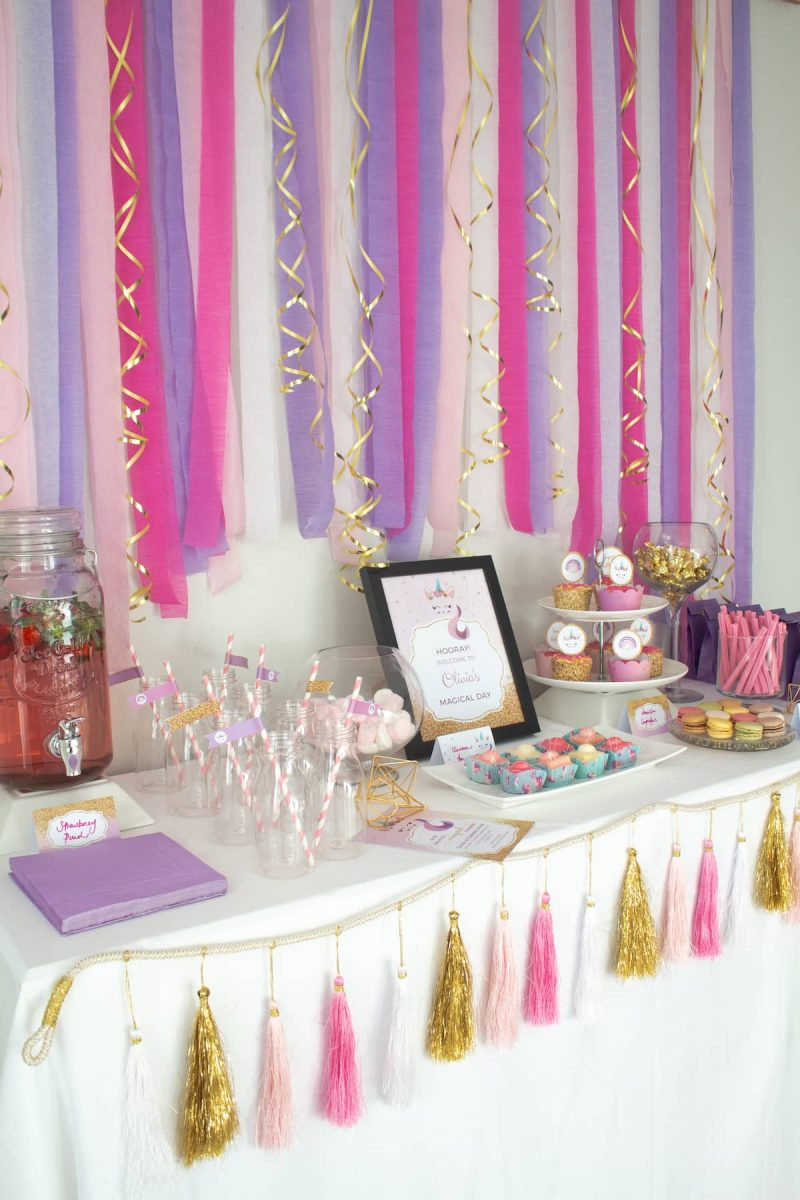 Girls unicorn birthday party food buffet