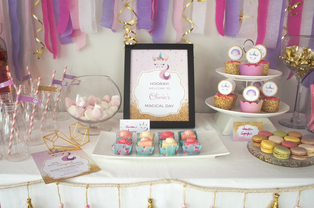 Unicorn Birthday party buffet with sign