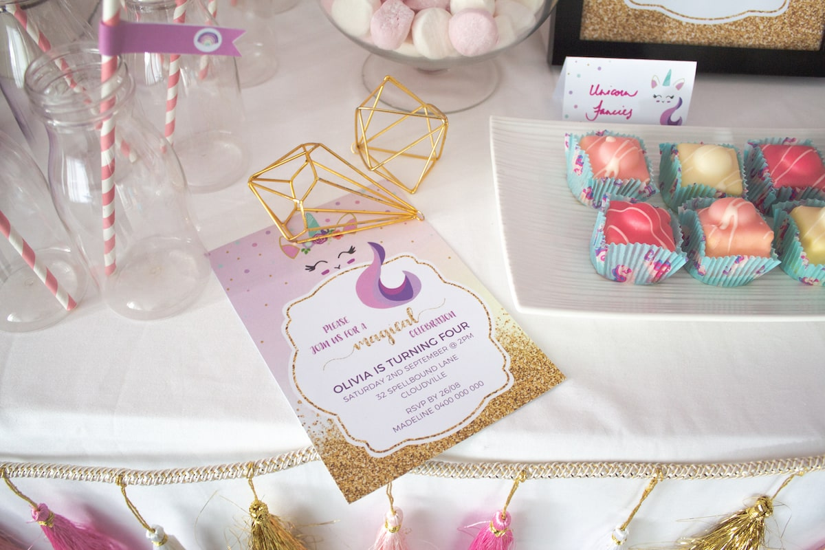 Unicorn theme party printable