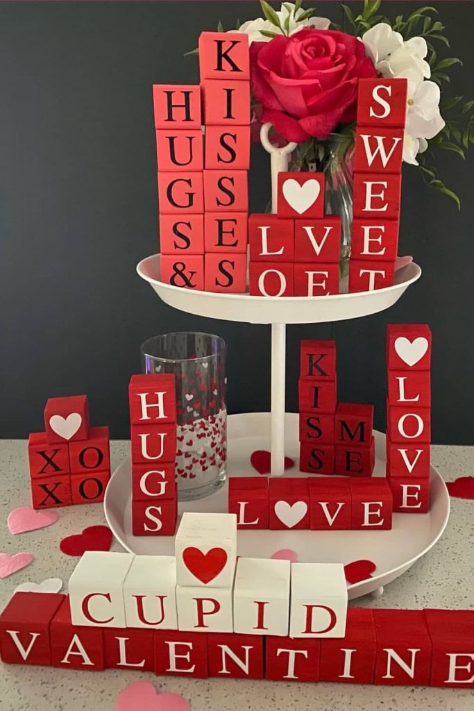 Valentines Day decoration wooden blocks