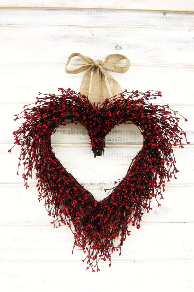 hanging red berry heart wreath