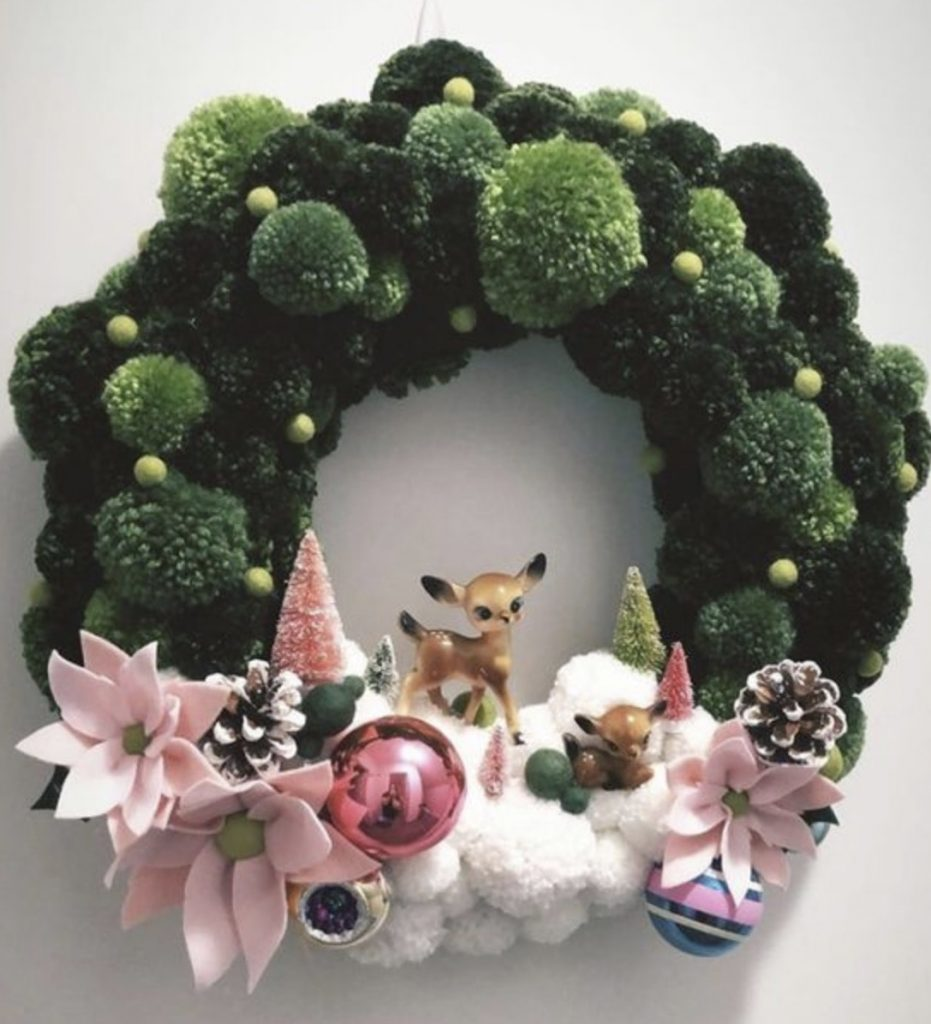 Foal winter scene pom pom Christmas wreath