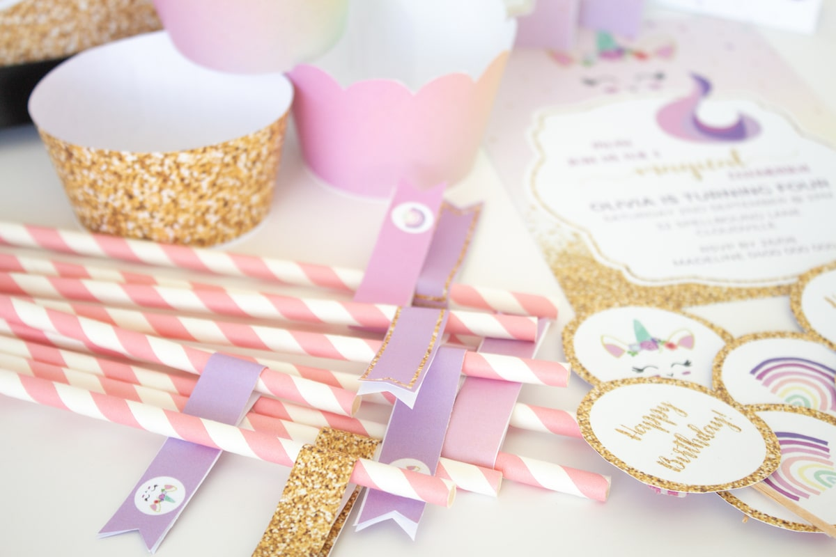 Unicorn party printable straw flags, invitation, cupcake toppers