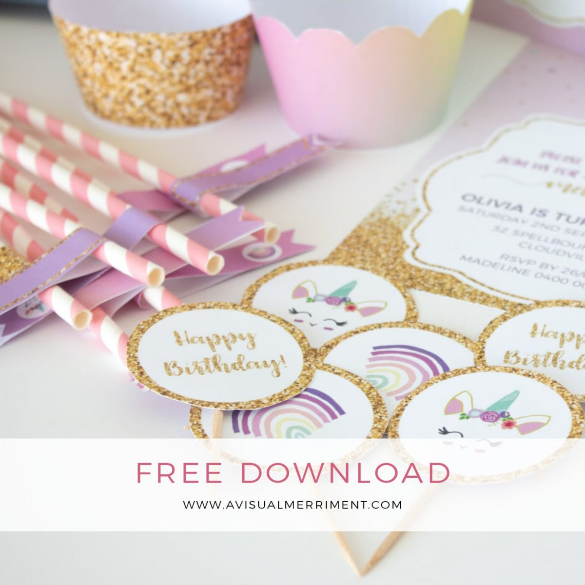Unicorn party printable kit download button