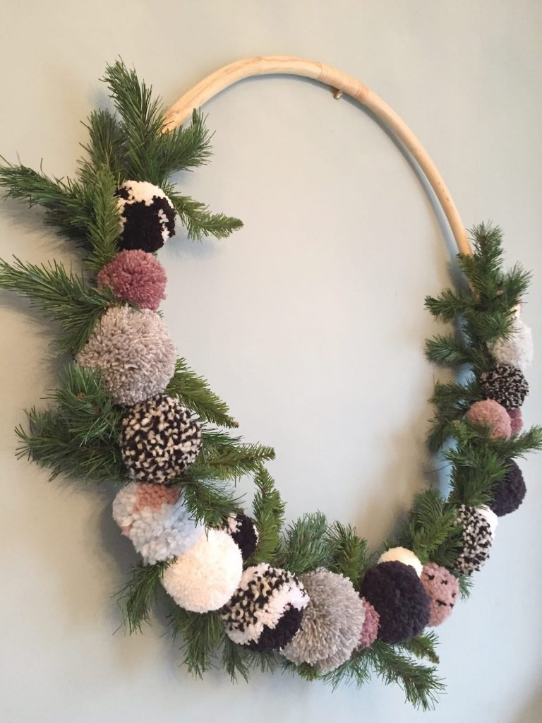 Giant hula hoop pom pom wreath
