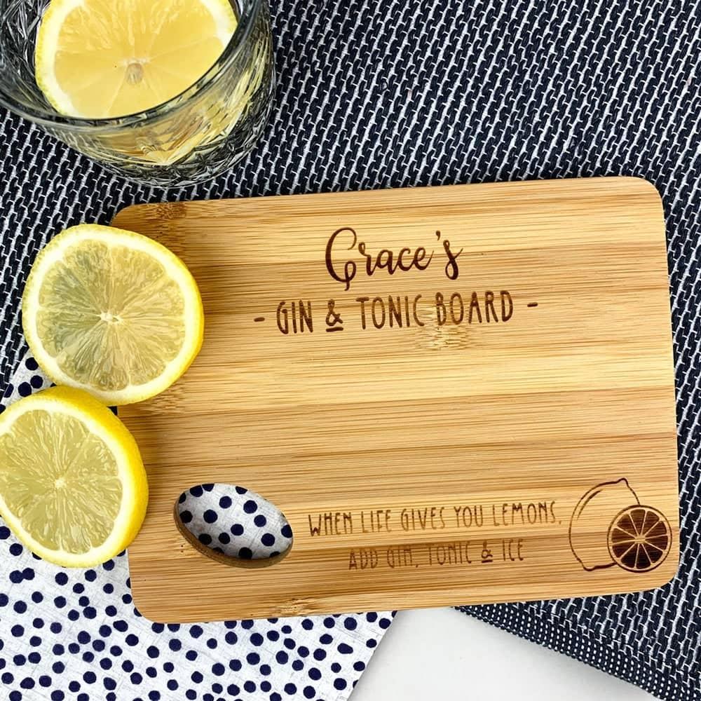 etsy handmade personalised bamboo lemon cutting board gift