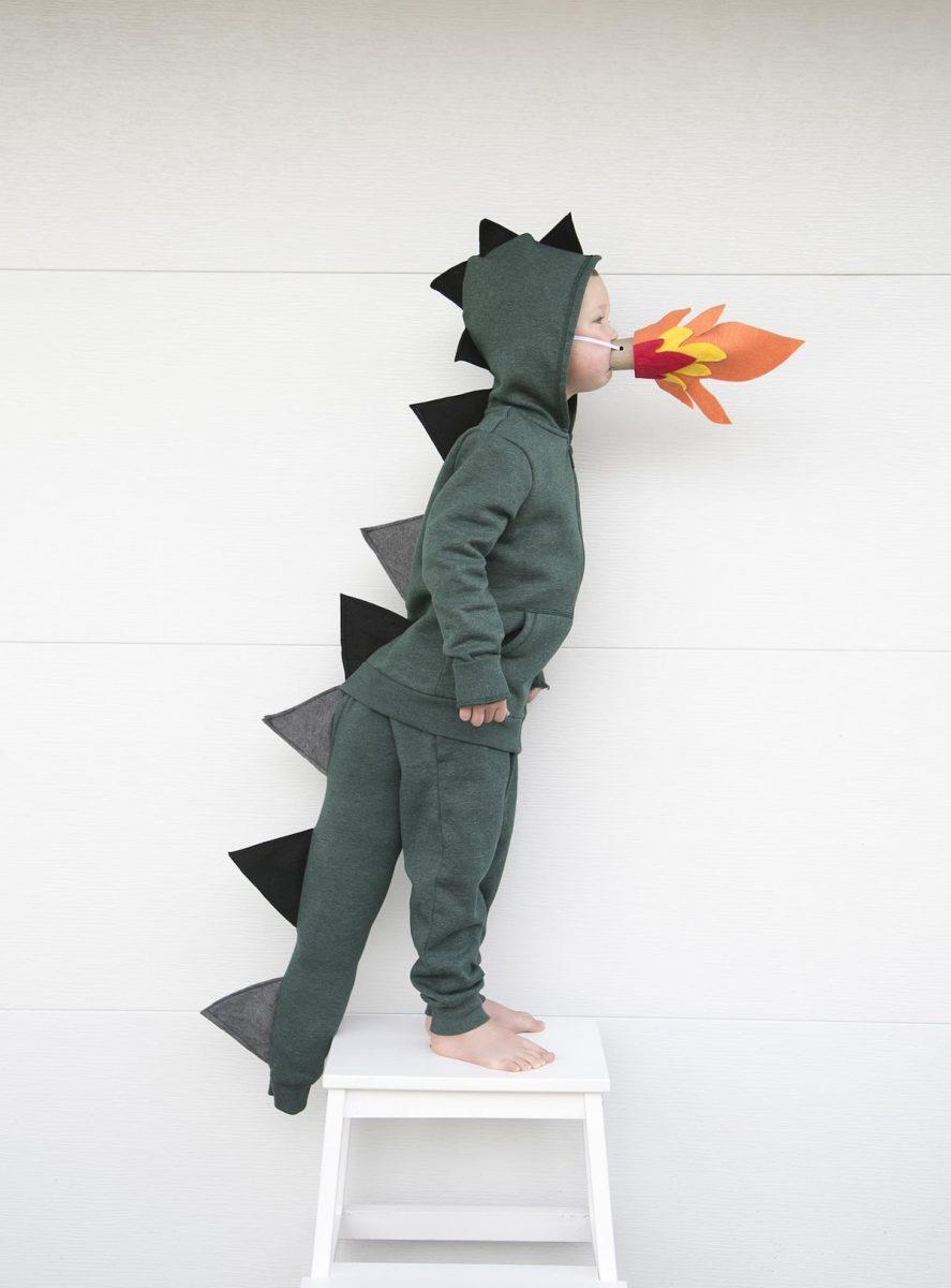DIY Fire breathing green dragon boy's halloween costume