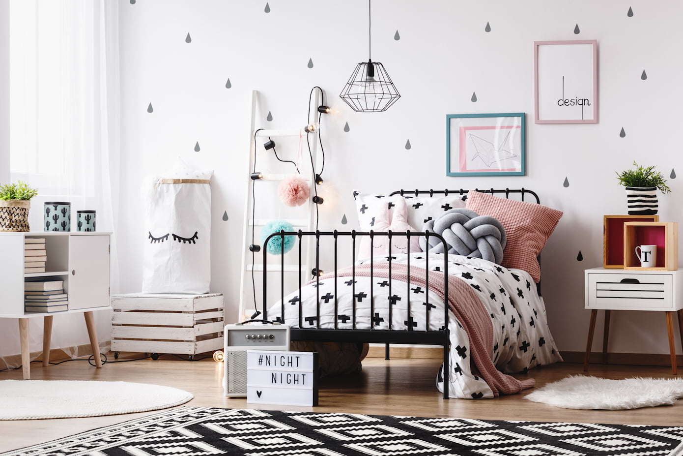 Modern scandi kids bedroom pops of color