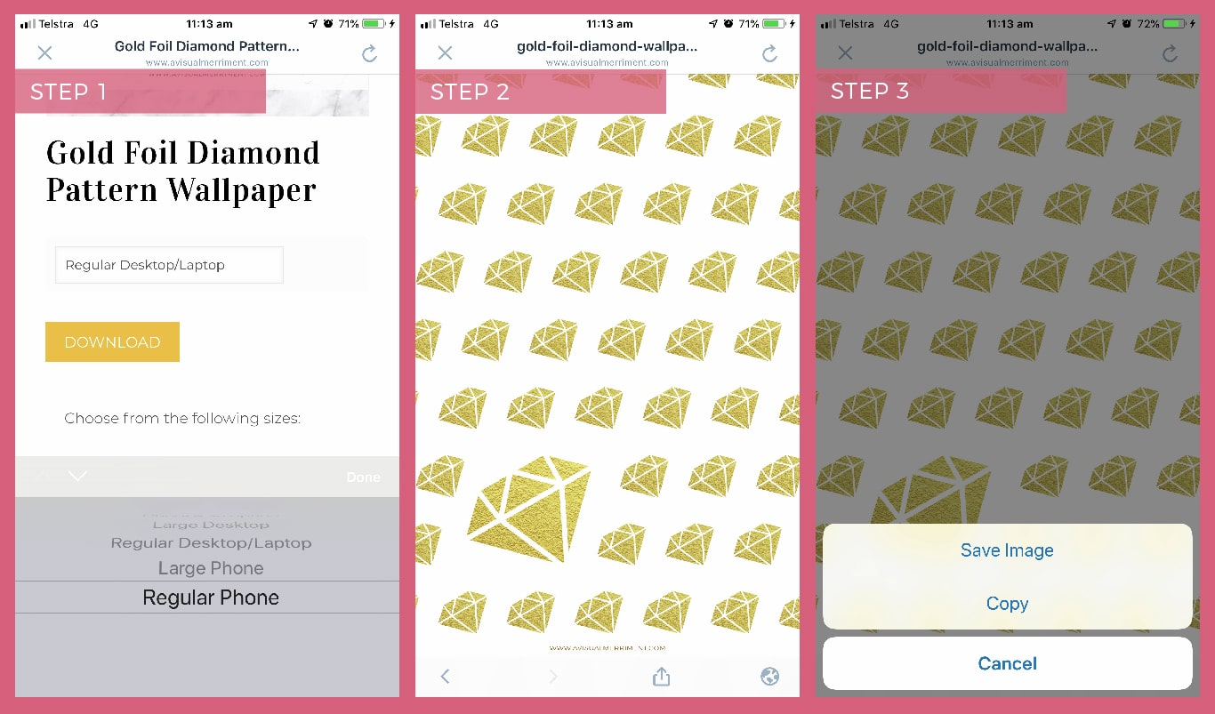 Instructions on how to download wallpaper screensaver to iphone or ipad
