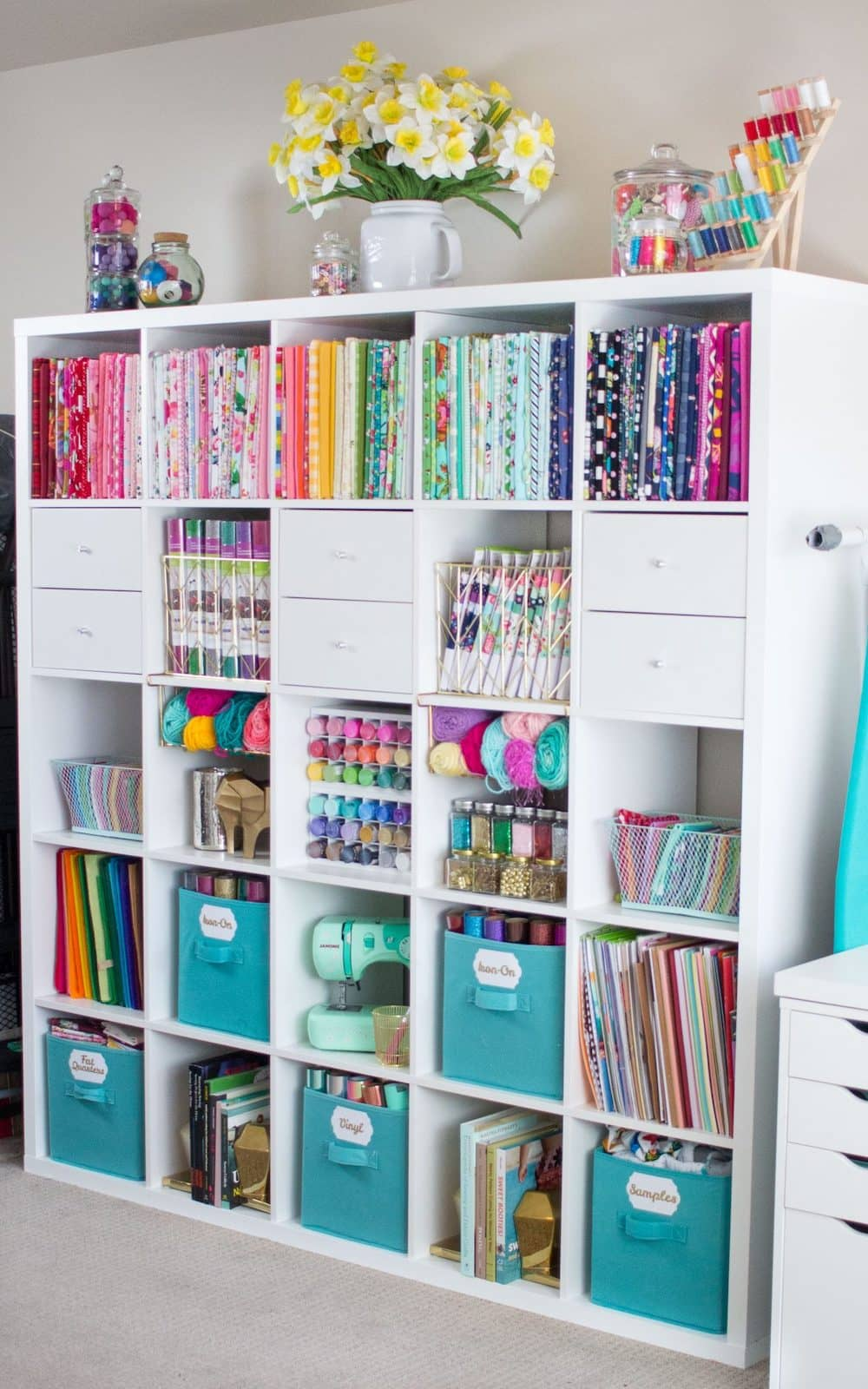 Sewing and fabric shelving unit