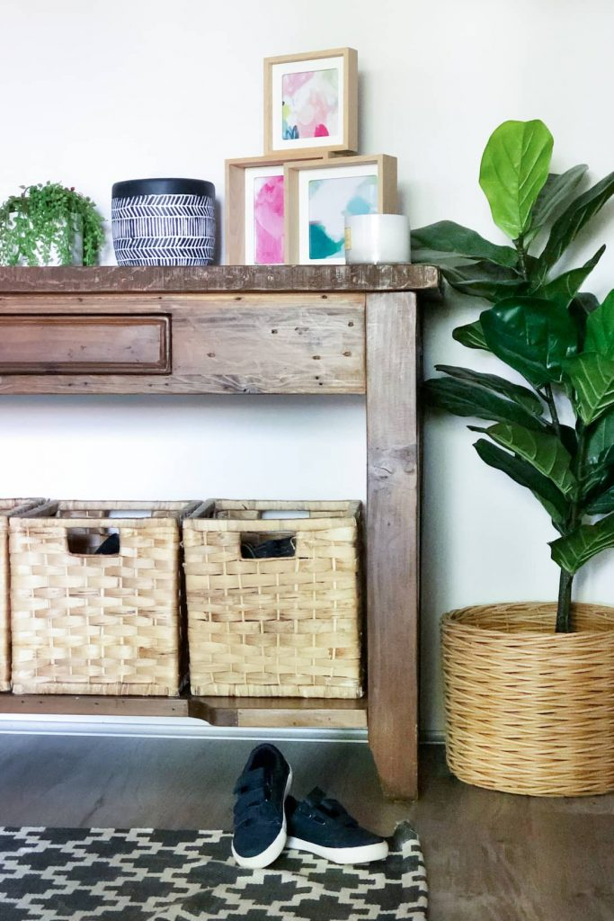 baskets in hall stand room makeover
