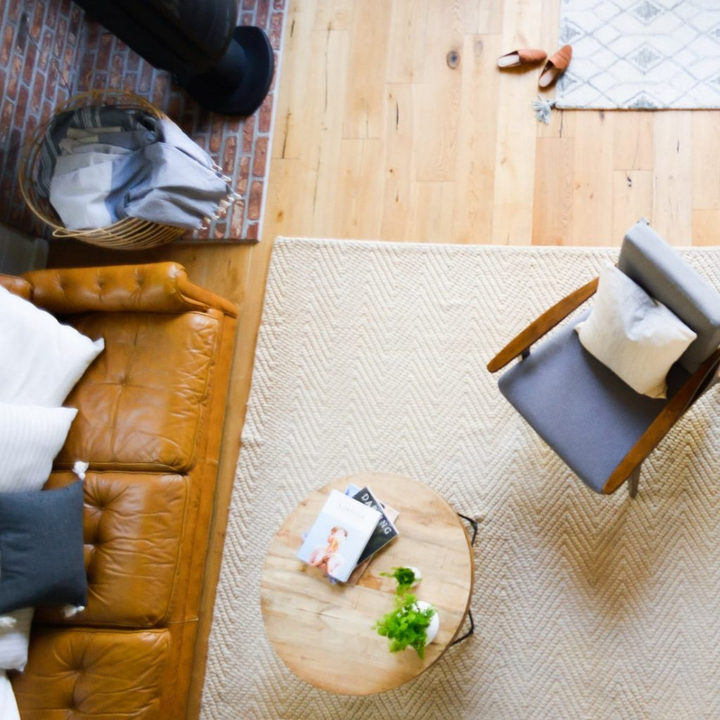 overhead view of living room furniture