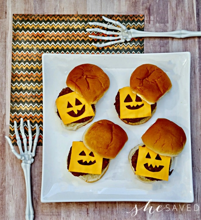 burger halloween food on plate