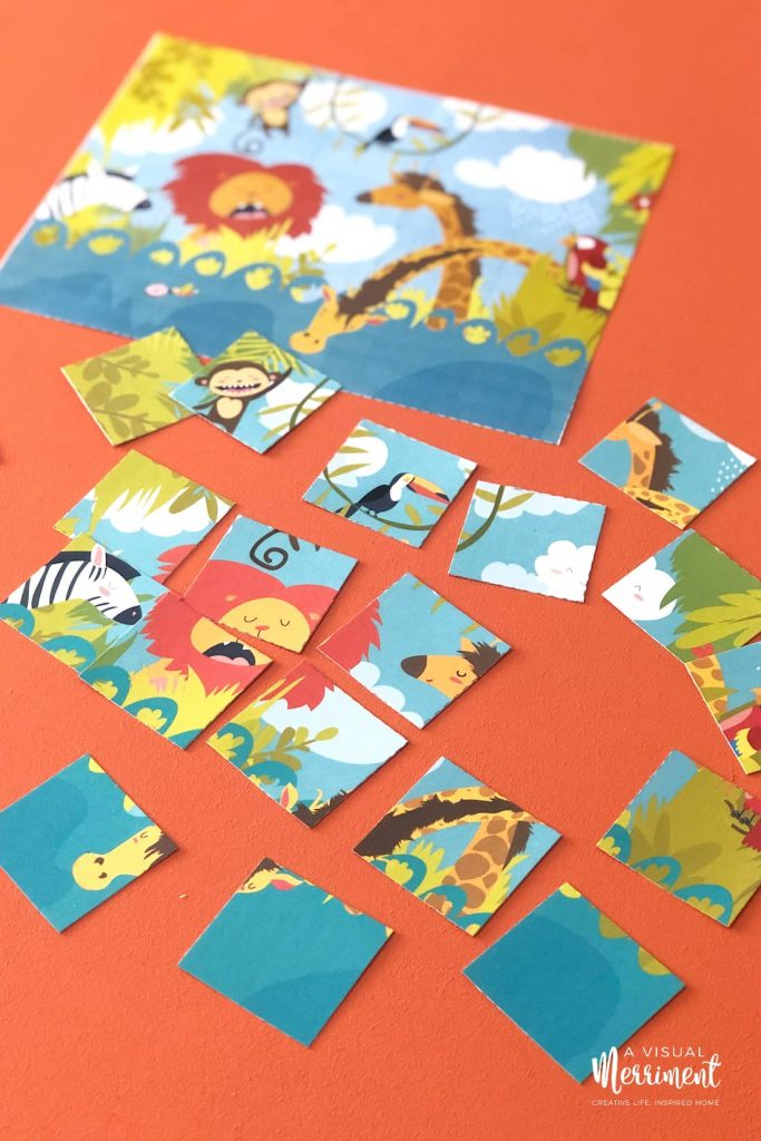 animal jungle puzzle scattered