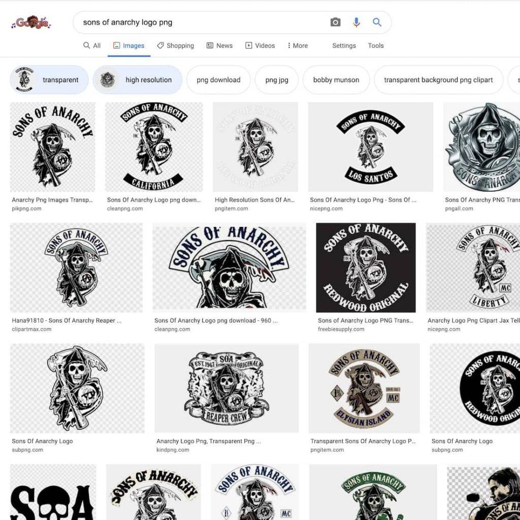google search results for sons of anarchy logo