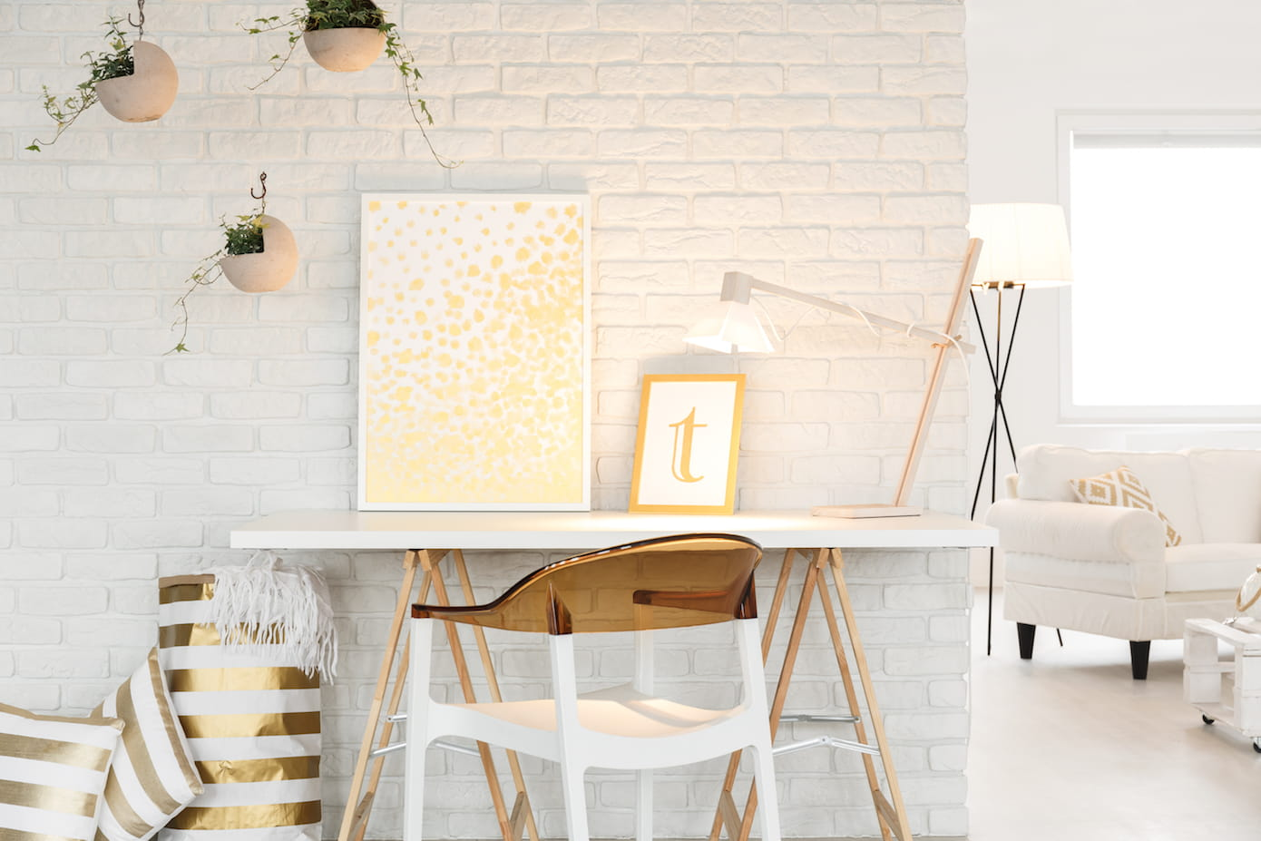 Minimal office space white and pretty golds