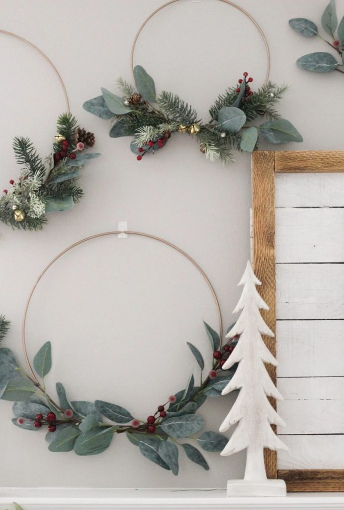 Metal hoop Christmas wreath