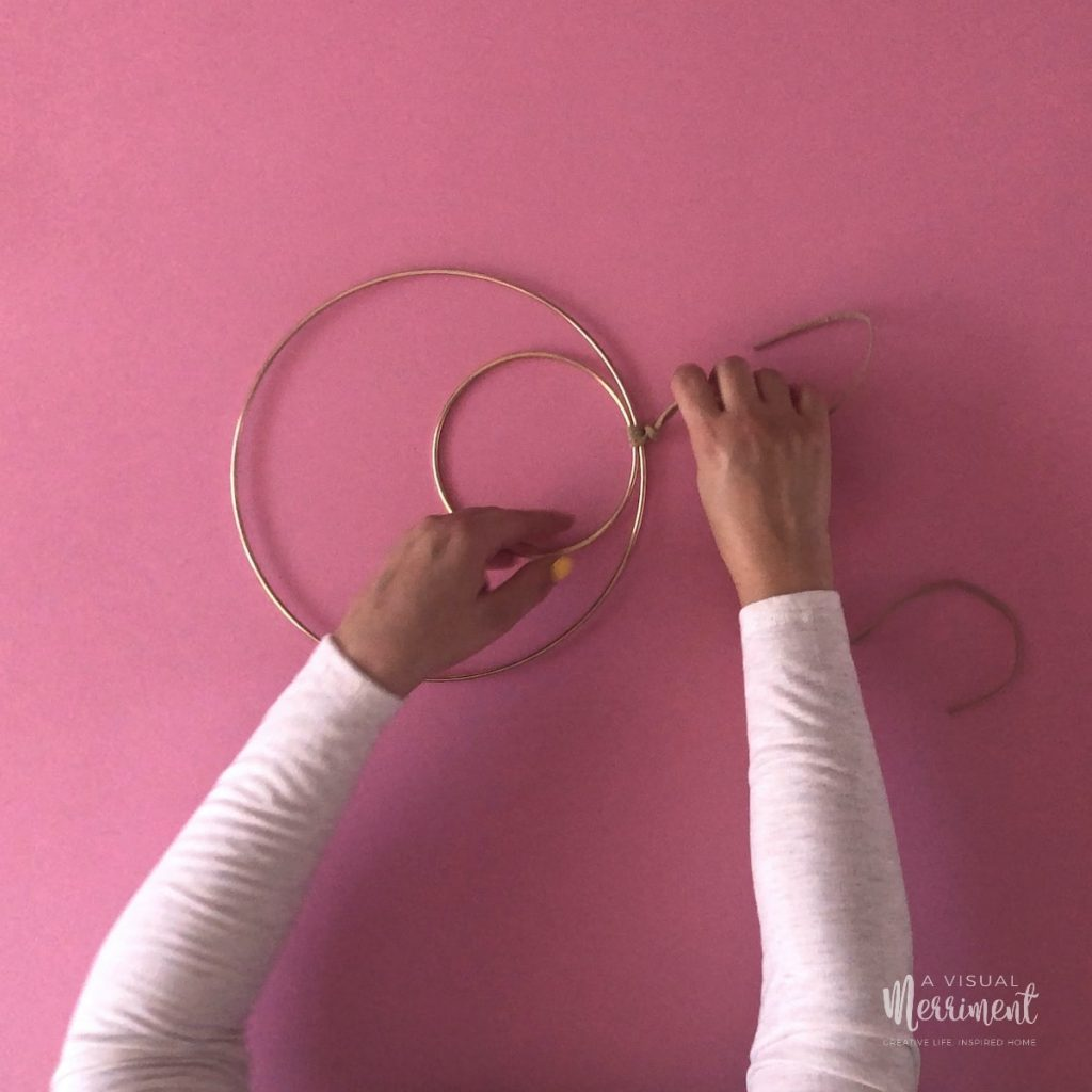 Tie hoops together with cord