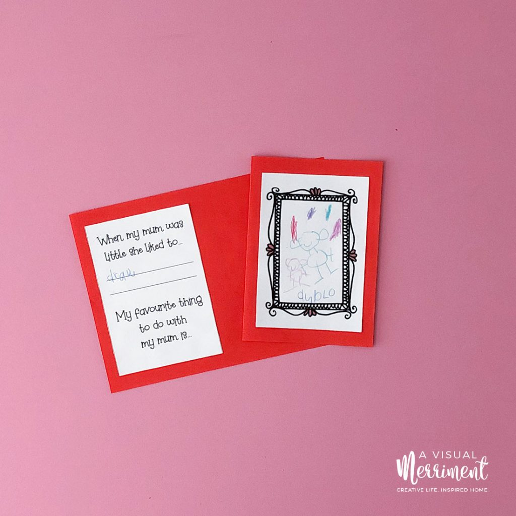 Open mom and me printable book with drawing