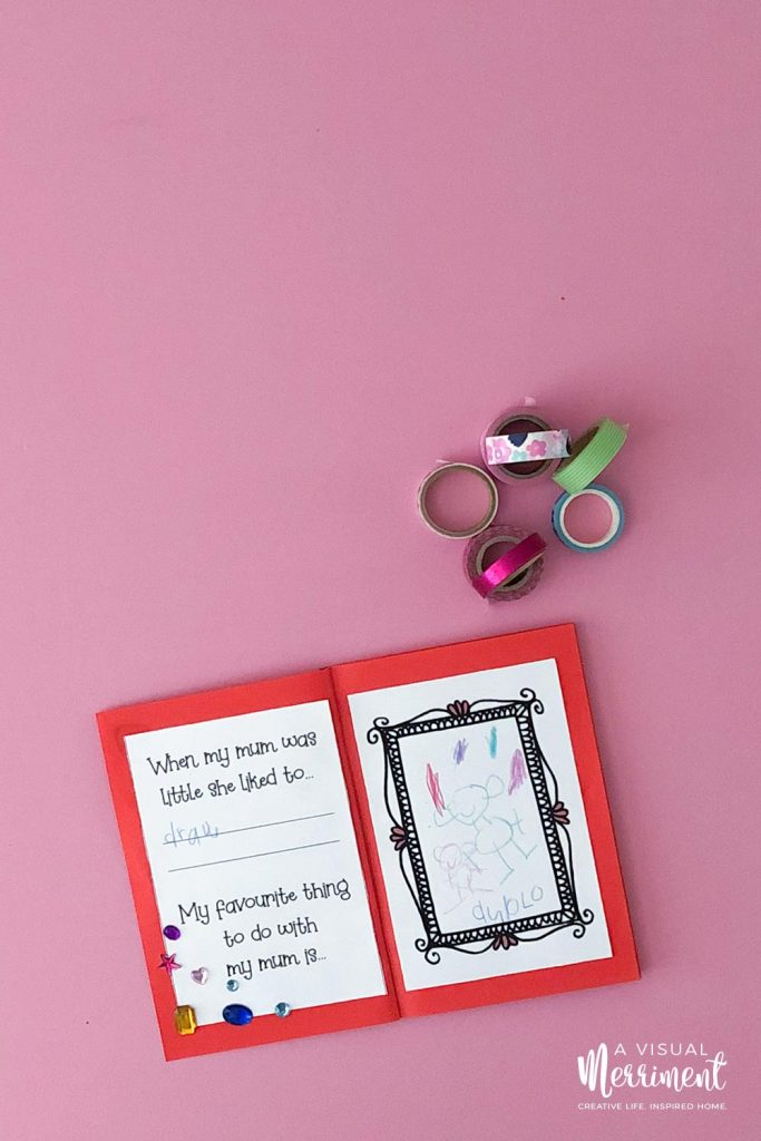 Decorated mothers day printable book with washi tape