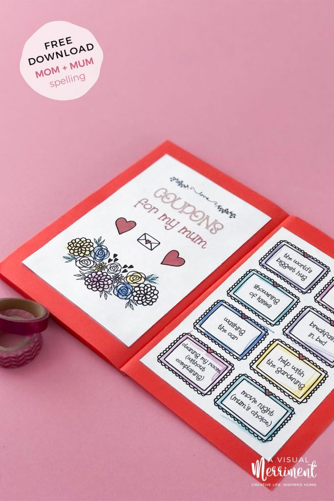 coupons for mum printable page coloured in