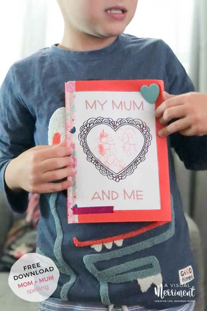 boy holding my mum and me mothers day printable book