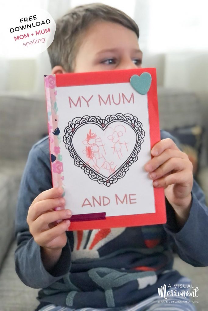 boy holding printable mothers day book