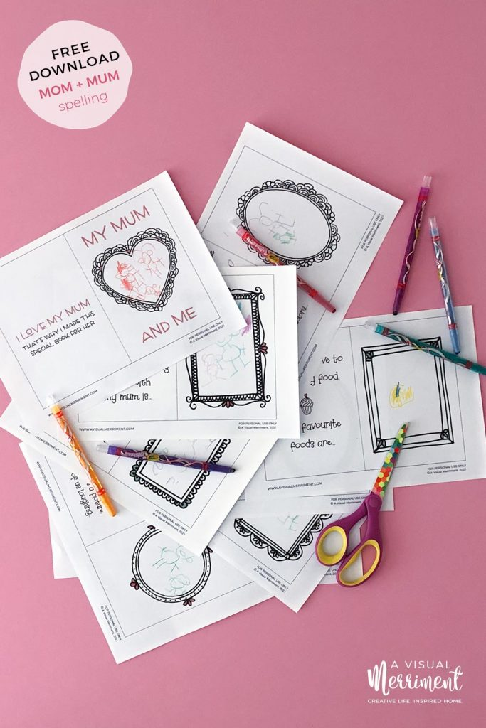 Pages of Mother's day printable from kids with crayons