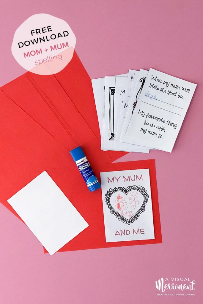My mom and me printable with glue stick