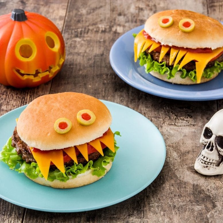 monster decorated Halloween hamburger buns