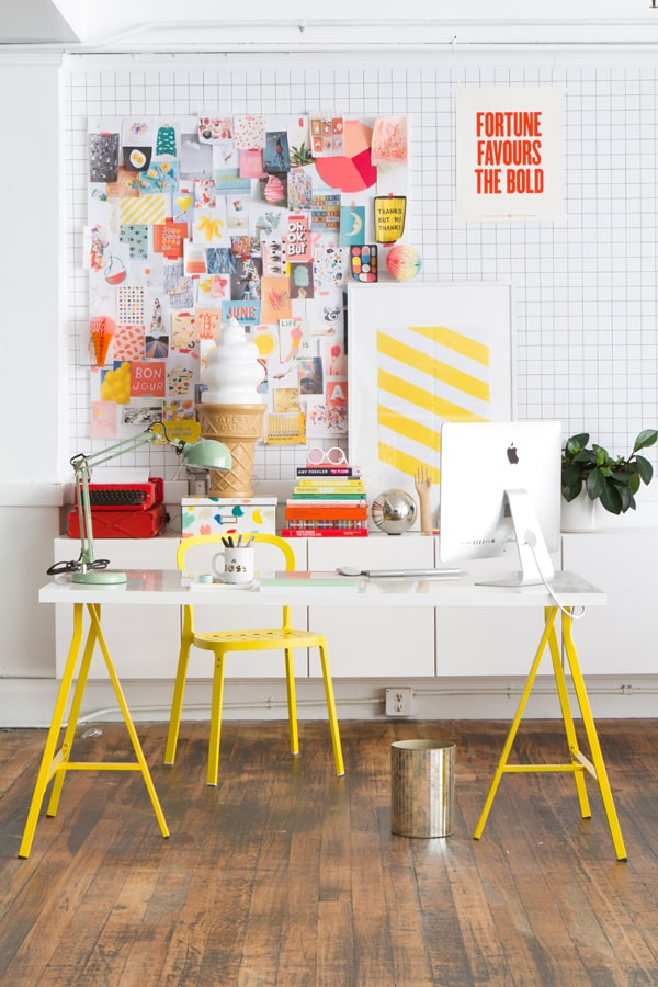 yellow desk in quirky office