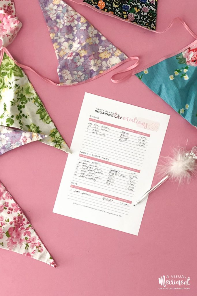 Decorations shopping list print out with party bunting decor