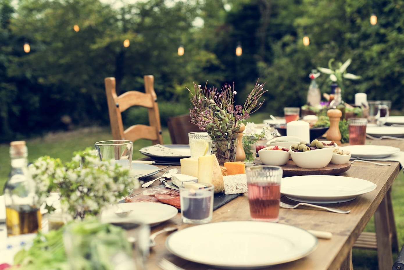Rustic outdoor table setting for party