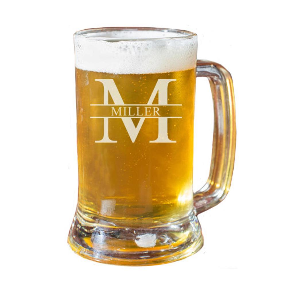glass beer mug with name etched