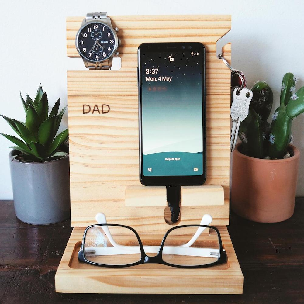 timber docking station gift with phone, keys, watch and glasses