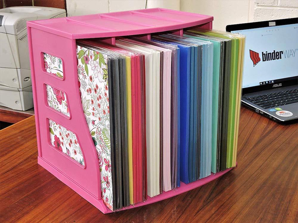 Scrapbook paper crate organiser