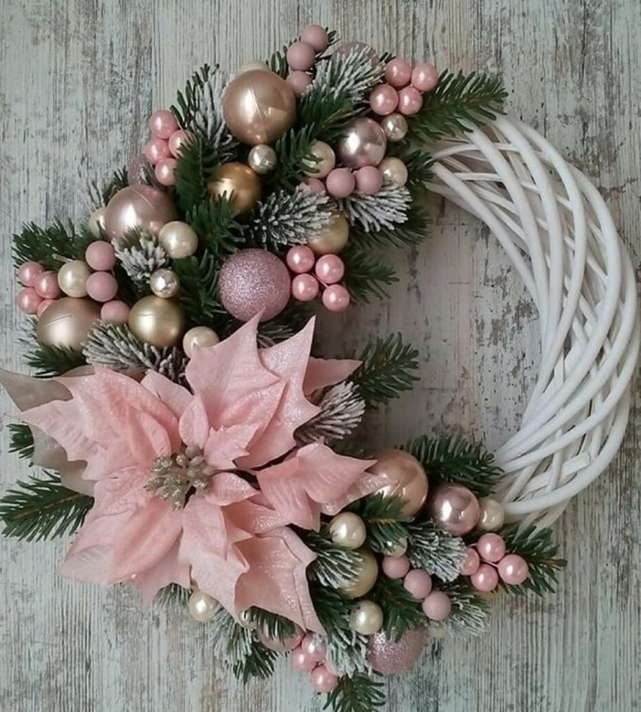 Pink and gold decoration Christmas wreath
