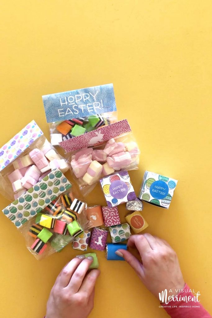 Gathering free Easter printable packaging and treats on yellow background