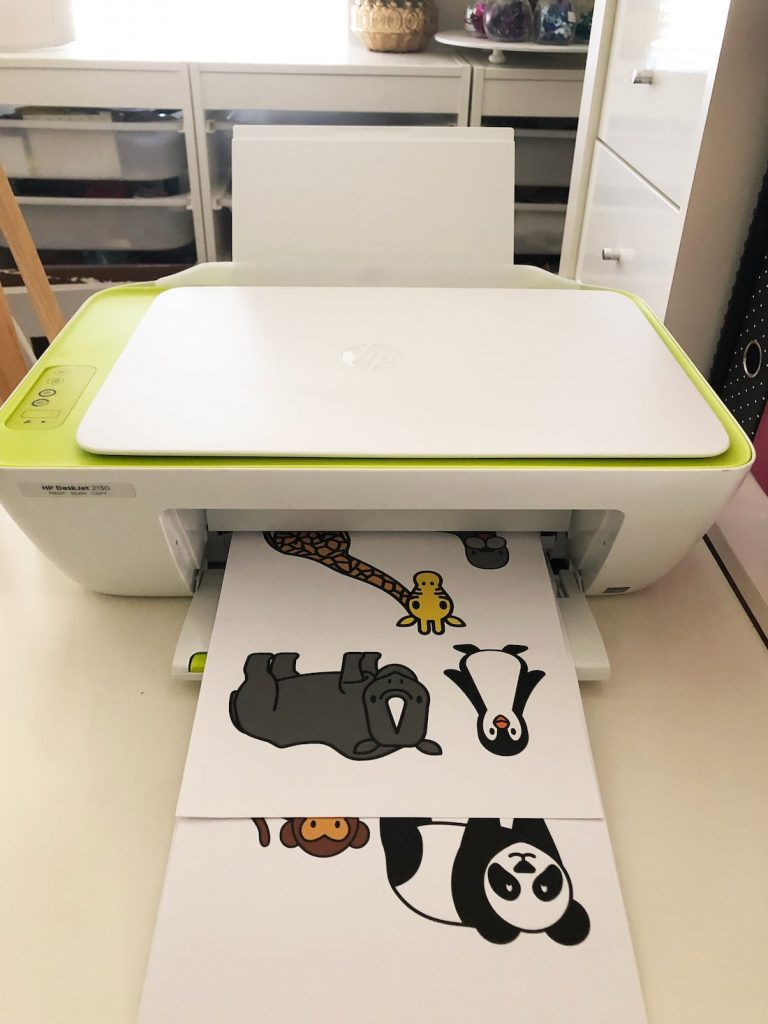 printer printing zoo animals