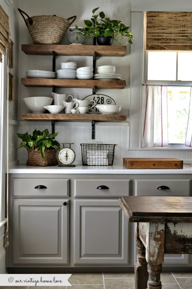 Rustic charmer modern farmhouse kitchen with open shelving
