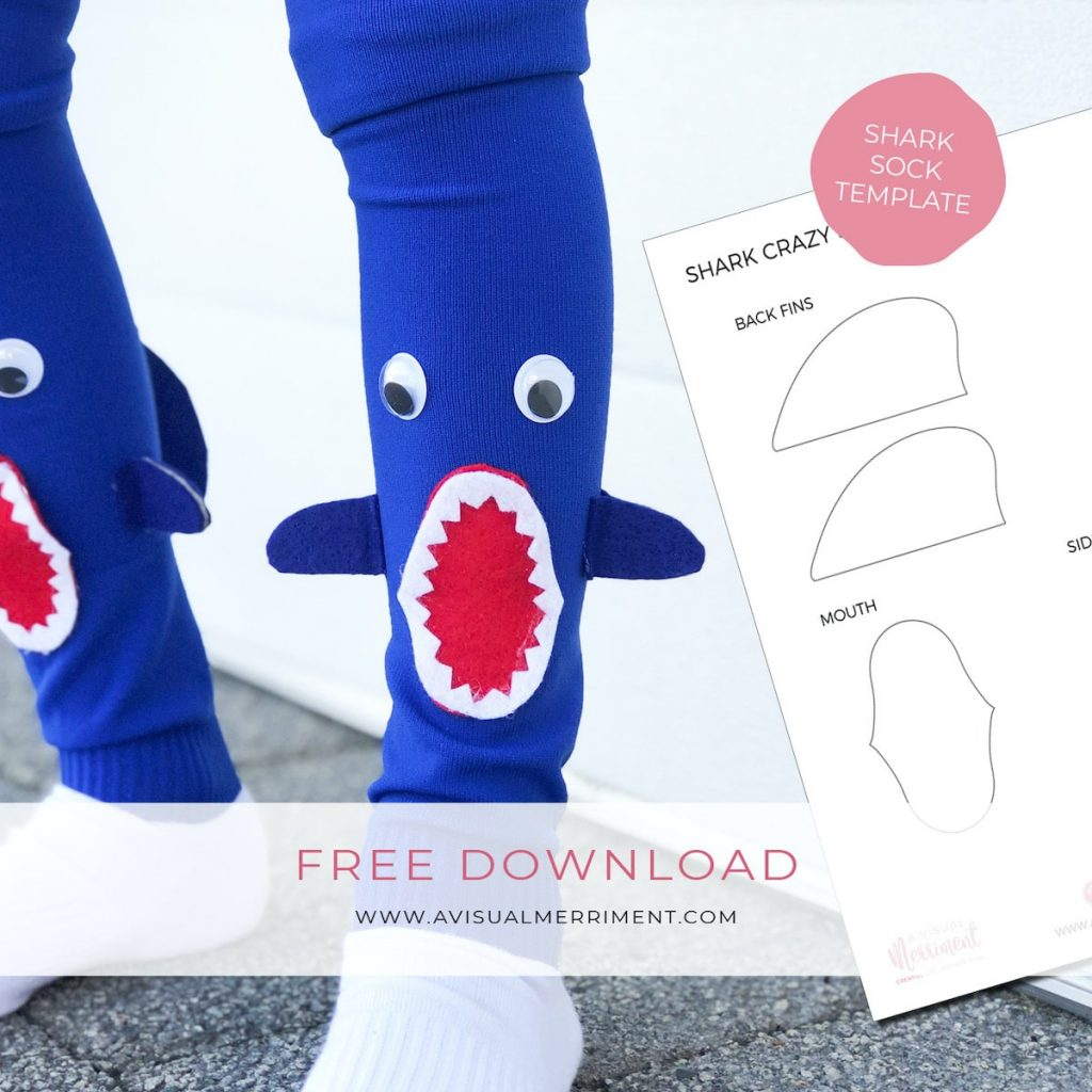 shark crazy sock template with boy wearing socks