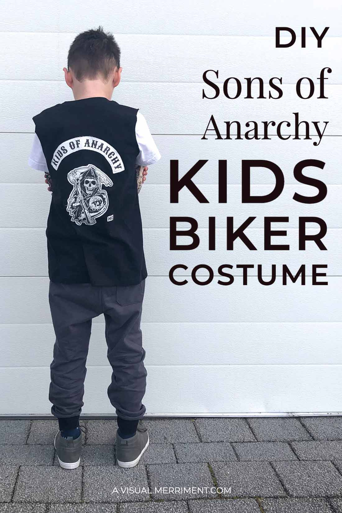boy standing biker jacket back graphic